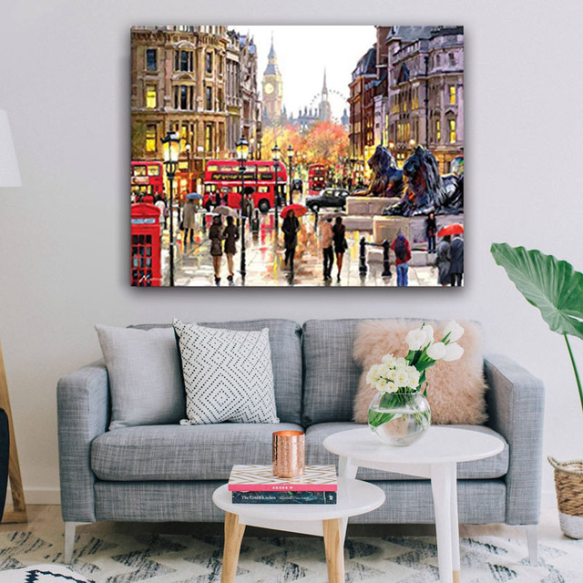 DIY colorings pictures by numbers with Rainy days the street painting picture drawing painting by numbers framed Home