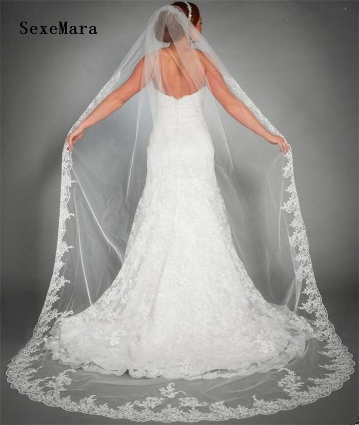 New One Layer 3M Cathedral Length Lace Edge White Ivory Bridal Veil With Comb Long Wedding Veil Velos De Novia