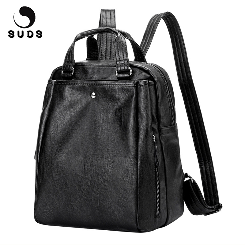 SUDS Brand Backpack Women Casual PU Leather Bag Designer High Quality School Bag For Teenage Girl Large Capacity Travel Backpack suds brand women casual 100