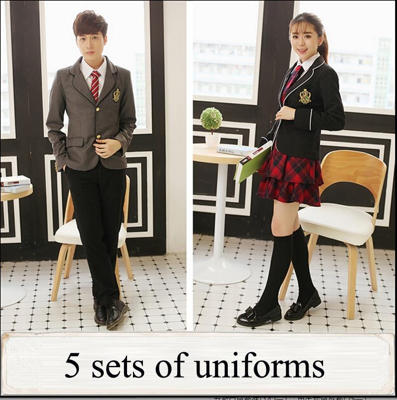 Uniforme scolaire japonais britannique pour filles et garçons hiver lycée Senior cardigan chemise jupe à carreaux femmes survêtement 5 ensembles - 2