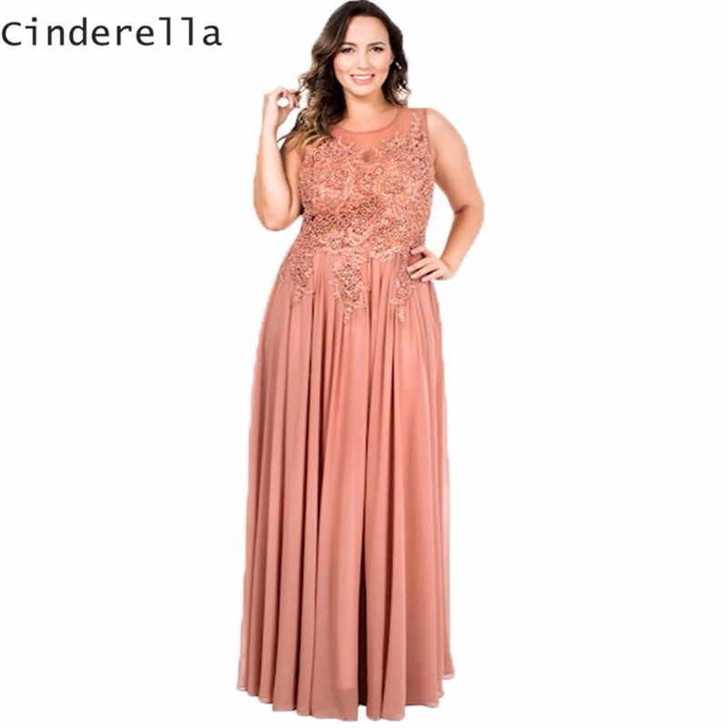 Cinderella Peach Color Scoop Lace Applique Peral Beaded A-Line Mother Of The Bride Dresses Chiffon Wedding Women Dresses