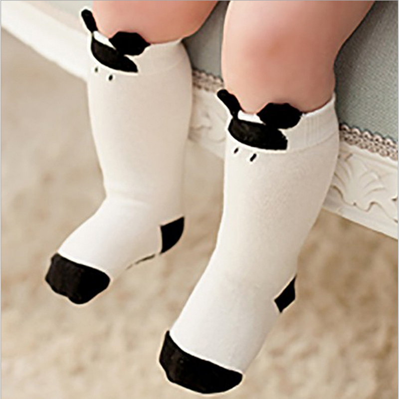 Toddler Knee High Socks For Newborns Baby Boys Girls Anti Slip Kids Long Sock With Rubber Soles Animal Cartoon Mickey Cat Kitty
