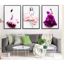 Modern Painting Petal Woman Dancer Posters and Prints Wall Art Canvas Nordic Style Picture for Living Room Home Decor