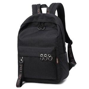 Image 2 - Waterproof Women Backpack Black and Pink Travel Bookbag Lady Back Bag KeyChain Knapsack College School Bag for Girls