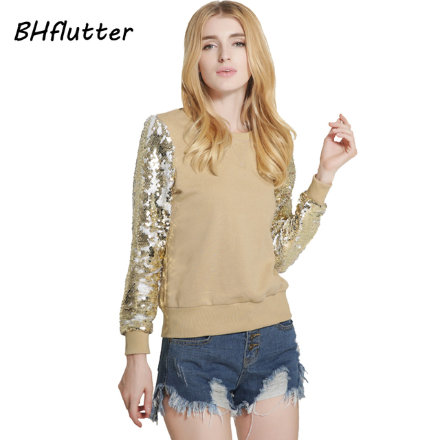 BHflutter Sexy Golden Sequin Sweater Women Long Sleeve Winter Pullovers New Arrivals 2017 Spring Casual Womens Sweaters and Tops