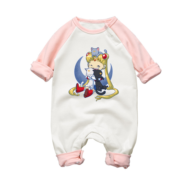 583ca5155f6f Newborn Baby Girl Clothes Cotton Baby Rompers Sailor Moon Printing Cute  Infant Pajamas 2017 Autumn Winter