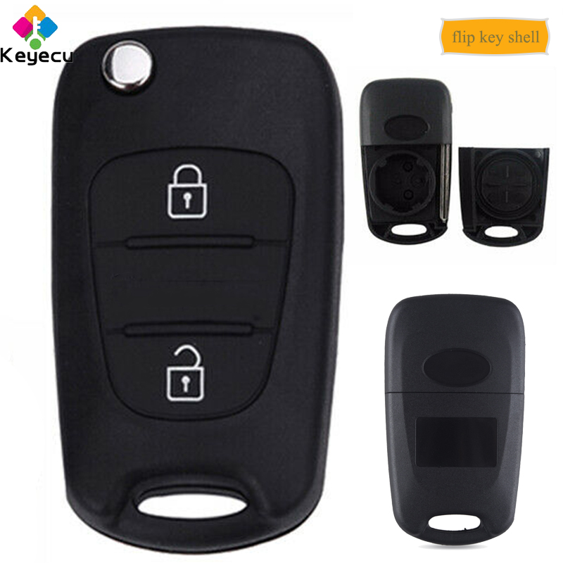 KEYECU Replacement Folding Flip Remote Car <font><b>Key</b></font> Shell Case With 3 Button - FOB for <font><b>Kia</b></font> <font><b>Sportage</b></font> 2008 2009 2010 <font><b>2011</b></font> 2012 2013 image