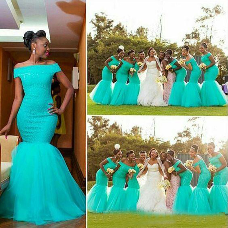 Sky Blue Mermaid   Bridesmaid     Dresses   2019 Off Shoulder Tulle Trumpet Lace Floor Length Gorgeous   Bridesmaid   Gowns For Wedding