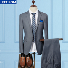 Mens Suits Jackets + Men Pants 2017 New Fashion Wedding Business Male Suits & Blazer Coat Hot Sale Tops Size S M-3XL Multi-color