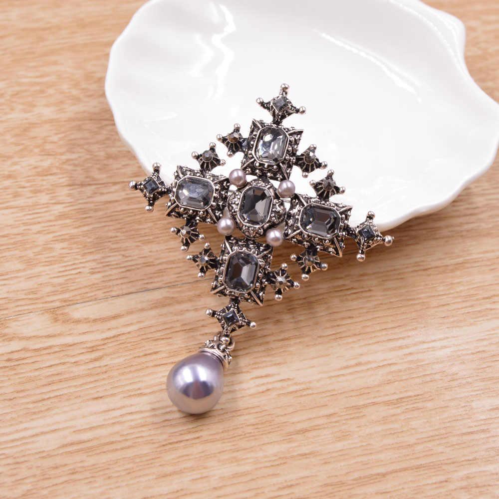 Cindy Xiang Baru Crystal Cross Bros Unisex Pria dan Wanita Fashion Vintage Besar Pin Warna Hitam Keren Desain Gaya Baroque