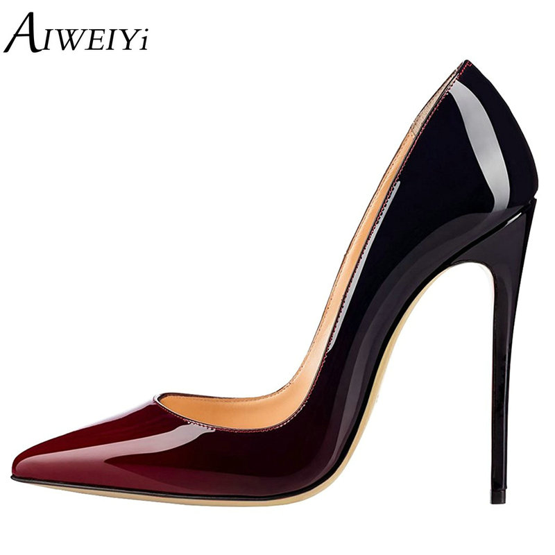 AIWEIYi Women Pumps Pointed Toe Thin High Heels 2018 Platform Pumps Patent Leather Stiletto High Heels Ladies Casual Shoes Woman