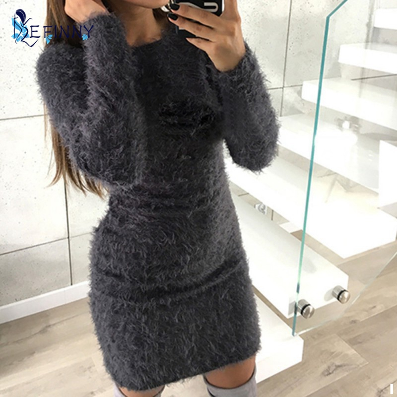 Women Long Sweater Dres sAutumn Winter Sexy Bodycon Dress Casual O Neck Long Sleeve Stretch Pullover Top Sweaters Vestidos