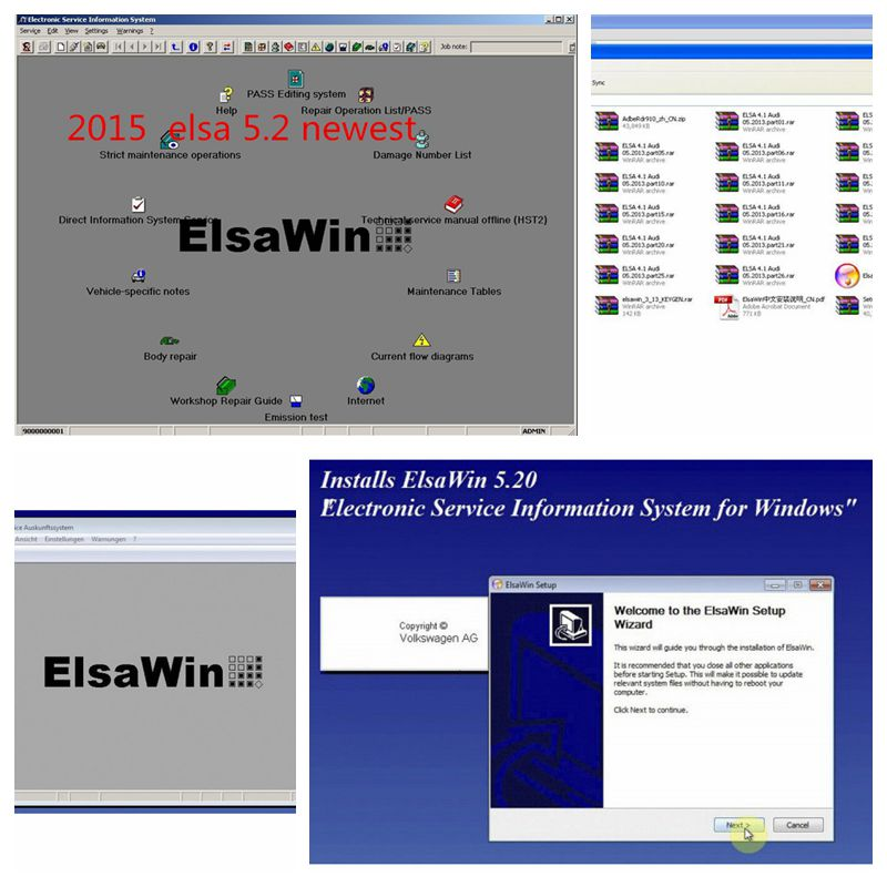 2018 New Arrival ElsaWin 6.0 work for VW 5.3 For Audi Auto Repair Software Elsa Win 6.0 Free Shipping Hot selling software