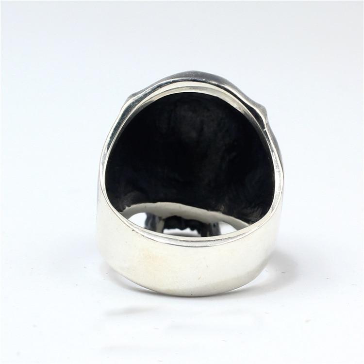 925 Sterling Zilver Hoge Detail Schedel Ring Mens Biker Punk Ring Sieraden A3430-in Ringen van Sieraden & accessoires op  Groep 2