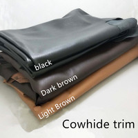 Black top layer cowhide brown leather trims whole leather handmade diy leather