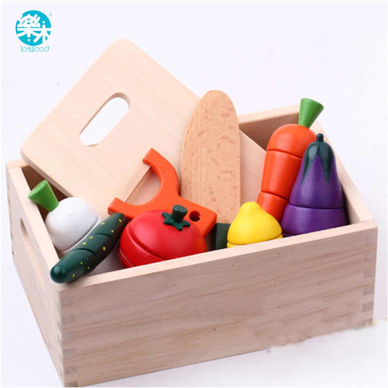 Wooden Kitchen Toys Cutting Fruit Vegetable Play Food Kids Wooden Toy fruit and vegetables food toy