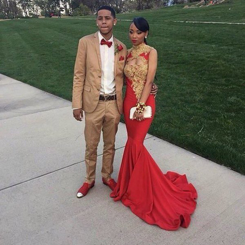 Red and Black Prom Couples