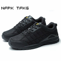 Men Fashion Big Size Steel Toe Covers Working Safety Shoes Breathable Puncture Proof Tooling Security Low