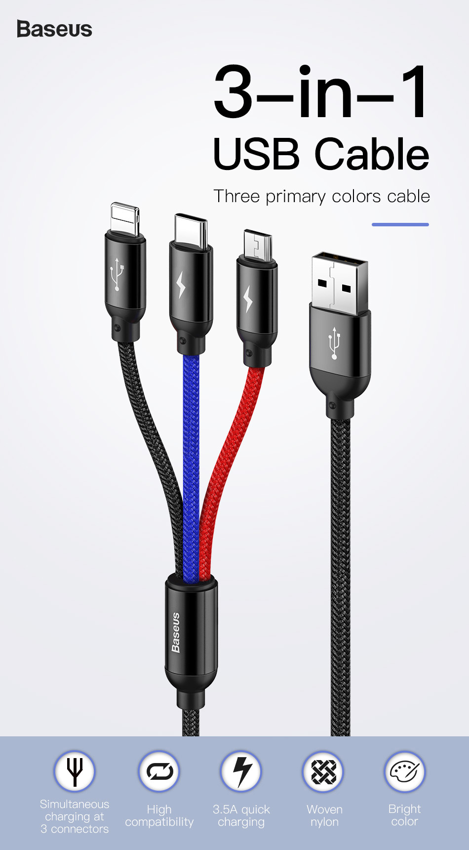 Two Three-in-One Data Cable C-Type Car Android 5A Multi-Head Charger Multi-Function Fast 1.2M ,C Sophia Three-in-One Charging Cable