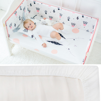 Baby Bed Linen Crib Fitted Sheet Pure Cotton Soft Baby Bed Mattress Cover Protector Cartoon Print Cot Fitted Sheet