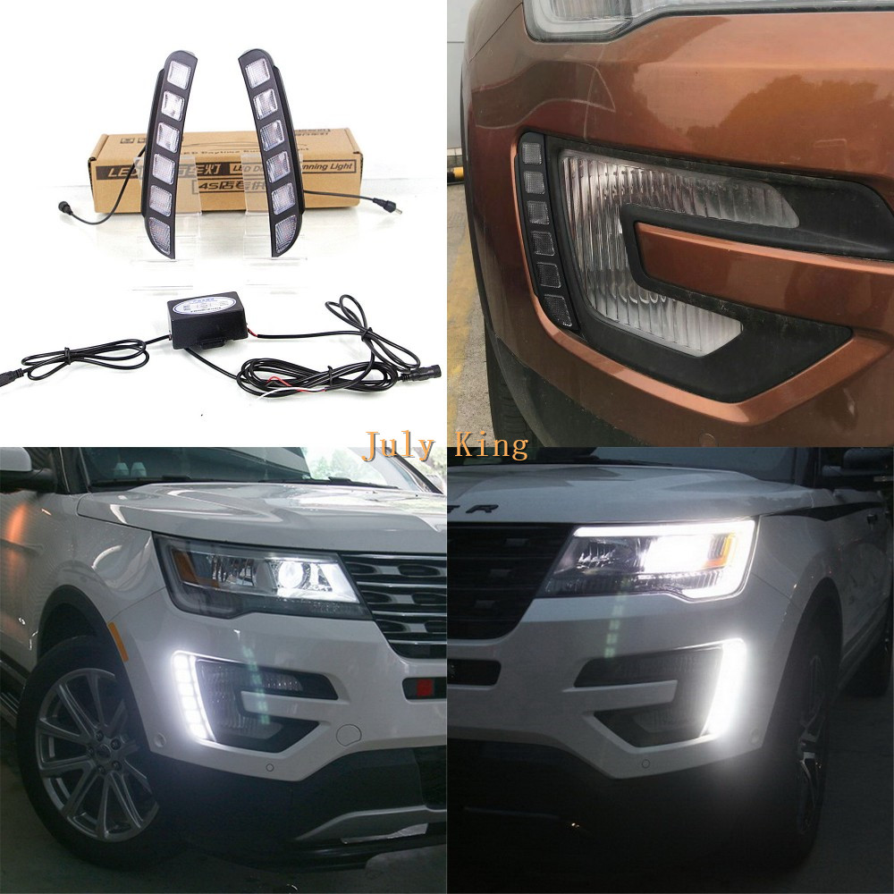 July King LED Daytime Running Lights Case for Ford Explorer 2016-2017, LED Front Bumper DRL, 1:1 Replacement july king led daytime running lights drl case for honda crv cr v 2015 2016 led front bumper drl 1 1 replacement