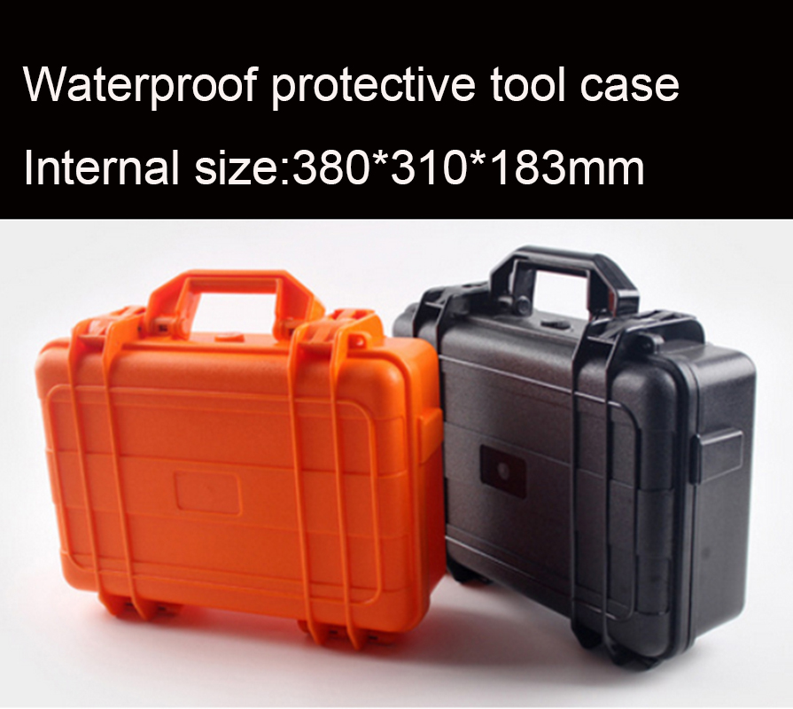 цены  380*310*183MM Waterproof tool case toolbox protective Camera Case Instrument box suitcase Impact resistant with pre-cut foam