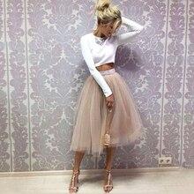 Скромные Женские Летние тюлевые юбки с лентами на молнии, повседневные весенние юбки по индивидуальному заказу длиной до колена, модные юбки для девочек в уличном стиле