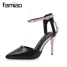 Фотография FAMIAO women pumps stiletto fashion sexy hollow rivets stitching fine with high-heeled shoes Wedding ladies zapatillas mujer