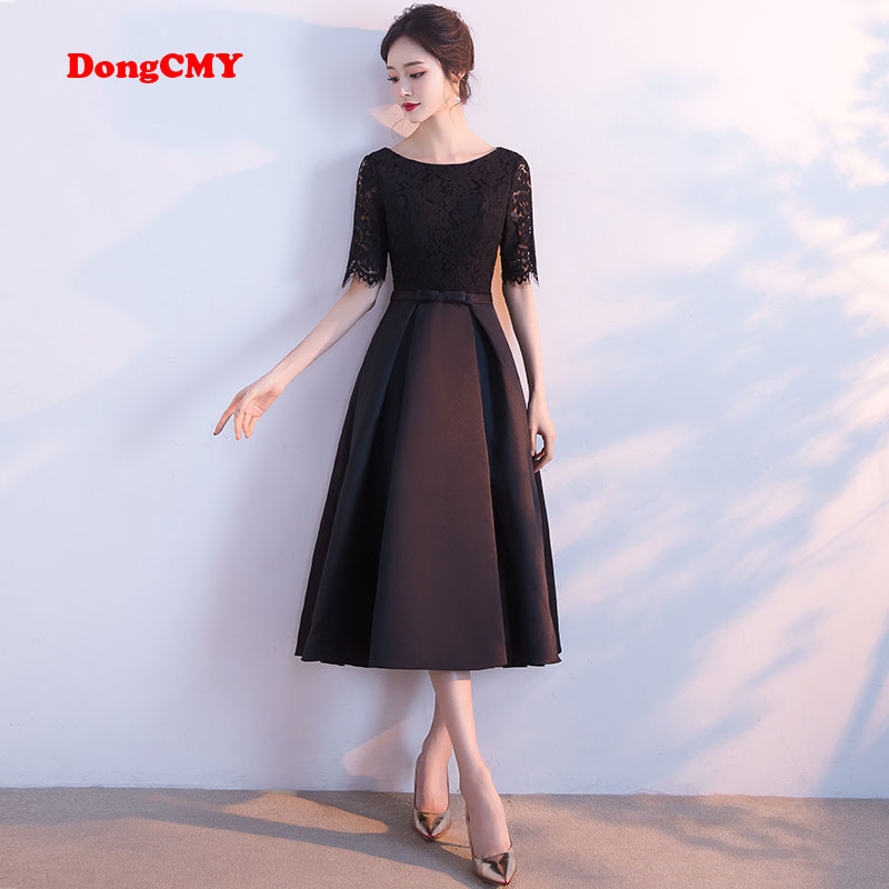DongCMY WT0130 Party Formal Short Evening Dress New 2019 Black Color Lace Ankle-Length Prom Women Dresses