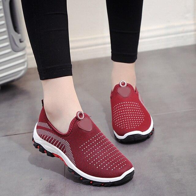 Kadın spor Ayakkabı Örgü rahat ayakkabılar Daireler Üzerinde Kayma Bayanlar Sığ Nefes yürüyüş ayakkabısı Keser Kadın Moda Konfor Ayakkabı