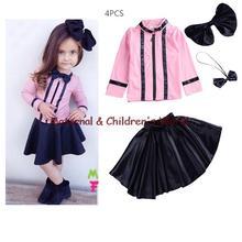 2016 New Girls Princess Dress + T shirt + Headdress + Tie 4 Pcs Set 3-10 Age Layered Tutu Dress Clothing Sets Children's Suits