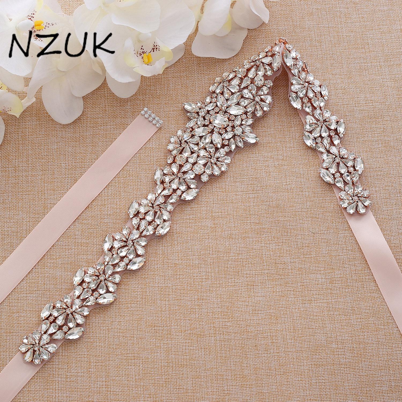 Crystal Bridal Belt Rhinestones Wedding Belt Rose Gold Diamond Bridal Sash For Wedding Prom Gown ZZY168RG