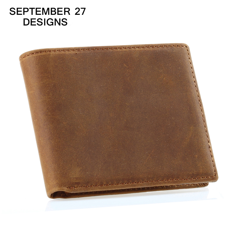 Men wallets top Crazy horse leather cowhide Vintage thin Male purse genuine leather Simple Bifold Clutch wallet for men cowboy men wallet male cowhide genuine leather purse money clutch card holder coin short crazy horse photo fashion 2017 male wallets
