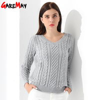 Women Sweaters And Pullovers Long Sleeve Knitted White Thick Sweater Femme V Neck Sueter Mujer Gray