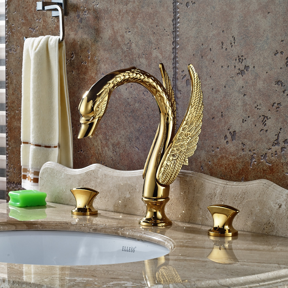 Wholesale And Retail Golden Animal Swan Deck Mounted Bathroom Basin Faucet Brass 3 Holes Tub Faucet Vanity Sink Mixer Tap pastoralism and agriculture pennar basin india