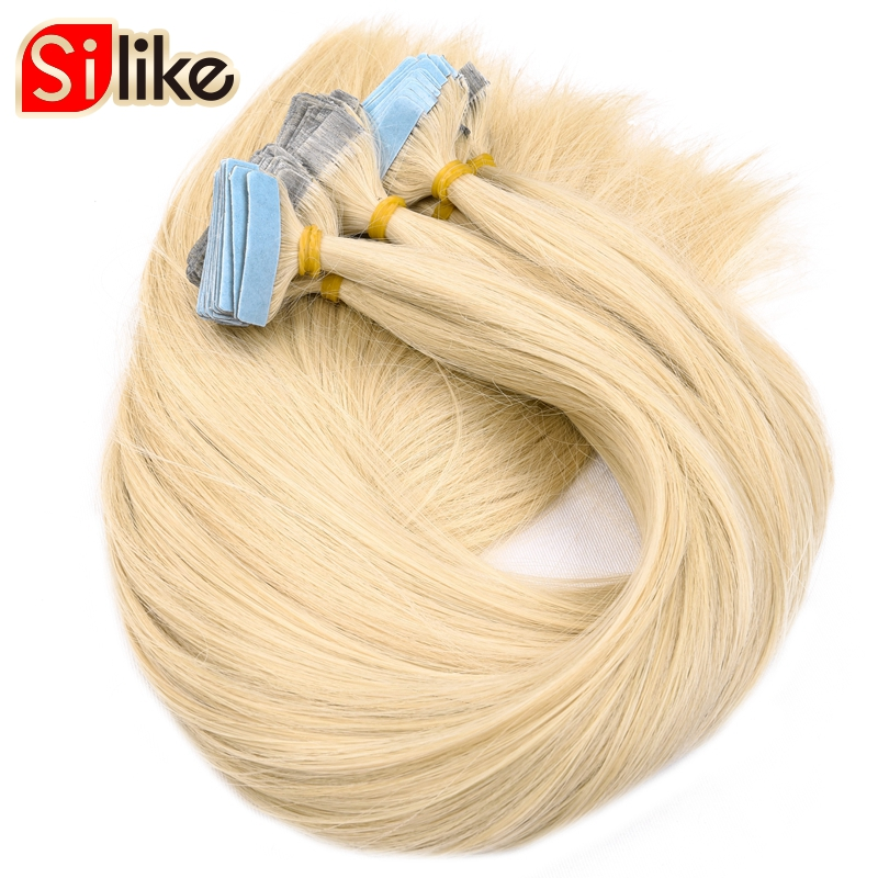 """Silike Tape In Synthetic Hair Extensions 22""""Inch Machine Made Synthetic Hair On Adhesives Tape PU Skin Weft Invisible 40pcs/pack"""