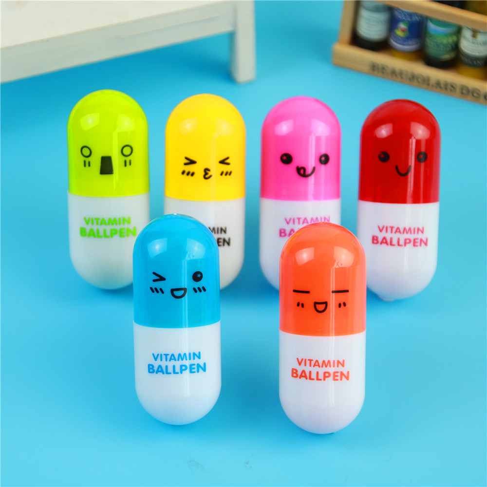 Free Shipping Cute Kawaii Capsule Creative Pills Ball Ballpoint Pens Ballpen For School Writing Supplies Stationery 1003