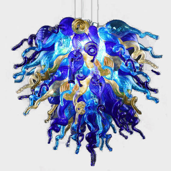 Led Light Source And Colored Glass Chihuly Style Chandelier American