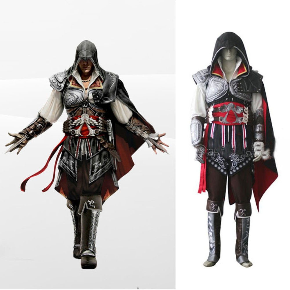 Assassins Creed 2 Ezio Costume Outfit Halloween Cosplay Costume Black Version full set C ...