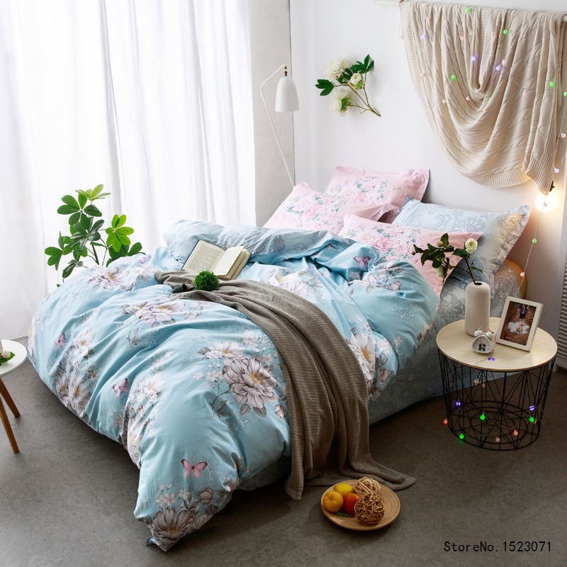 Blue peony flower hometexile  cotton fabric bedding set boho style style bedsheet queen size duvet cover bedspread bedroom