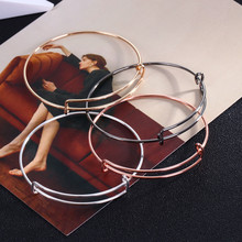 Gold Color Adjustable Wire Bangle Bracelet Cable Expandable Charm Bracelets Bangles for Women Child Gift DIY Jewelry B002.(China)