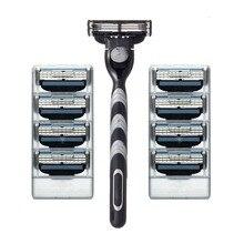 8 unids Titular de la maquinilla de Afeitar de afeitar Cuchillas y 1 pcsRazor Hoja Set máquina de Afeitar Navajas de Afeitar Cuchillas de afeitar para Hombres
