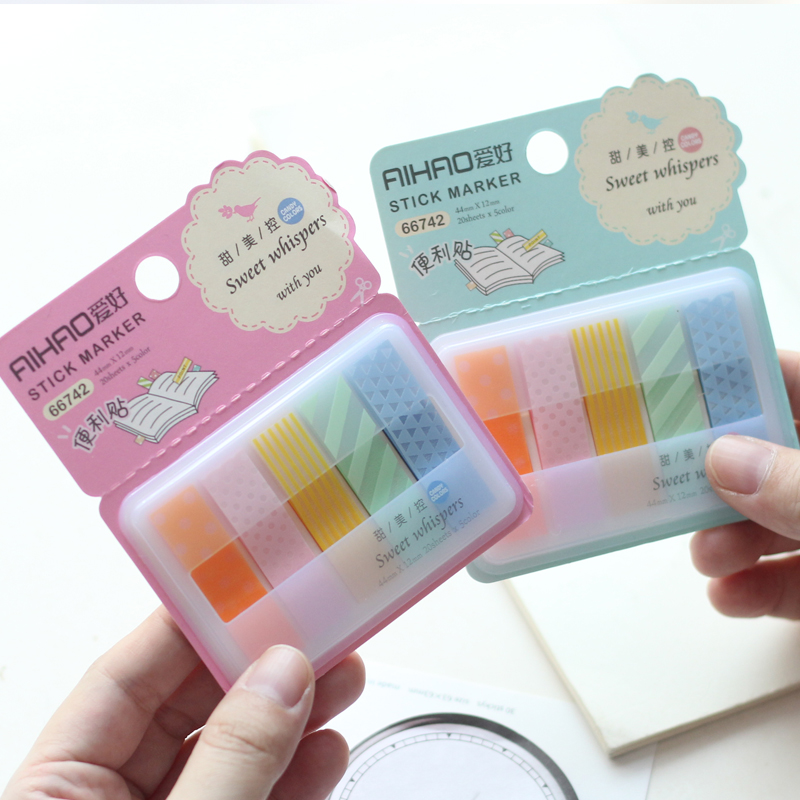 4 pcs Sweet whispers sticky note 20 sheets*5 color Removable sticker Stationery Office School supplies post marcador FM390