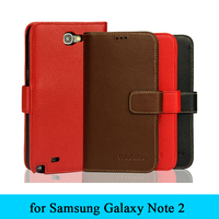 Luxury Design Genuine Real Leather Case For Samsung Galaxy Note 2 Note2 N7100 N7102 N7108 Magnet