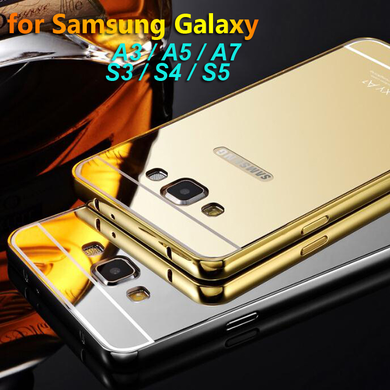 Phone Case For Samsung Galaxy A3 A5 A7 Plating Aluminum Frame + Mirror Back Mobile Phone Cover Cases For Samsung S3 S4 S5