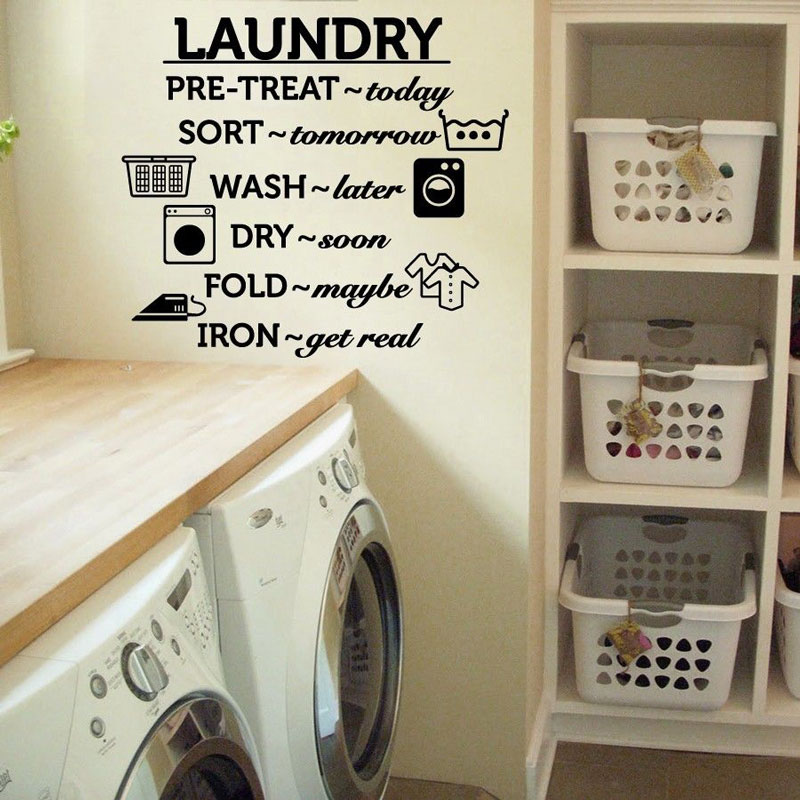 Laundry Room Vinyl Wall Decal Wash Dry Fold Iron Quote Wall Sticker Laundry Room Decoration Wall Mural Removable Wallpaper DY03-in Wall Stickers from Home & Garden