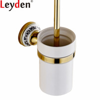 Leyden Bathroom Wall Mounted Golden Finish Brass Toilet Brush Holder With Creamic Cup Durable Bathroom Hardware Accessories
