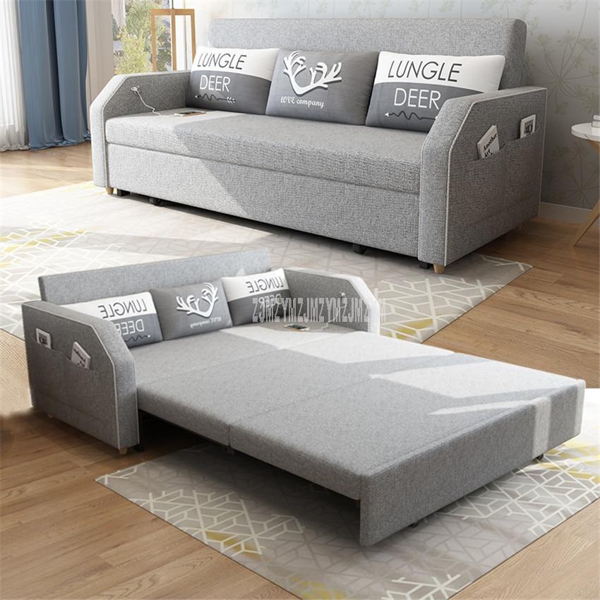 Living Room Sofa Bed Furniture Modern Washable Linen Cotton Solid Wood Frame Natural Latex+Sponge Filler Foldabe Sofa Bed