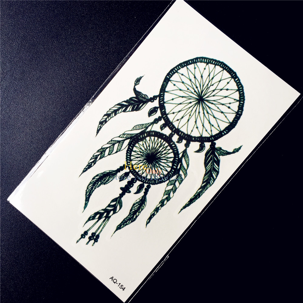 Hot Sale Black Ink Dreamcatcher Temporary Tattoo Women Body Art Arm Tattoo Stickers HAQ 154 Sexy