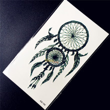 Hot Sale Black Ink Dreamcatcher Temporary Tattoo Women Body Art Arm Tattoo Stickers HAQ-154 Sexy Girl Makeup Tips Henna Paste